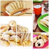 Κολάζ του προγεύματος με το αρτοποιείο στοκ φωτογραφίες
