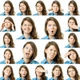 Κολάζ του όμορφου κοριτσιού με τις διαφορετικές εκφράσεις του προσώπου Στοκ Εικόνα