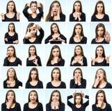 Κολάζ του όμορφου κοριτσιού με τις διαφορετικές εκφράσεις του προσώπου Στοκ εικόνα με δικαίωμα ελεύθερης χρήσης