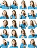 Κολάζ του όμορφου κοριτσιού με τις διαφορετικές εκφράσεις του προσώπου Στοκ φωτογραφίες με δικαίωμα ελεύθερης χρήσης