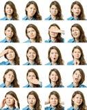 Κολάζ του όμορφου κοριτσιού με τις διαφορετικές εκφράσεις του προσώπου στοκ φωτογραφία