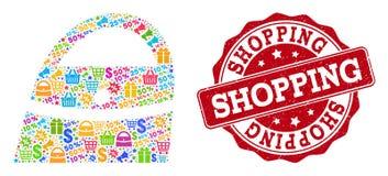 Κολάζ τσαντών αγορών του μωσαϊκού και της γρατσουνισμένης σφραγίδας για τις πωλήσεις διανυσματική απεικόνιση