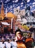 Κολάζ των αμερικανικών εικονιδίων Στοκ Εικόνα