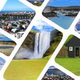 Κολάζ των διάφορων δημοφιλών τουριστικών αξιοθεάτων γύρω από την Ισλανδία Στοκ Εικόνες