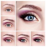 Κολάζ των θηλυκών ματιών με τα βήματα makeup στοκ εικόνες
