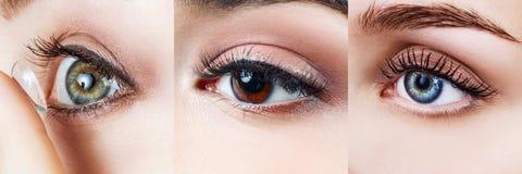 Κολάζ των θηλυκών ματιών με το διαφορετικό χρώμα των ματιών στοκ εικόνες