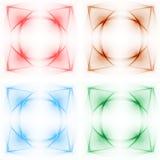 Κολάζ των καμμένος προτύπων σε τέσσερα διαφορετικά χρώματα Στοκ Εικόνα