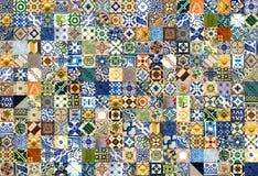 Κολάζ των κεραμικών κεραμιδιών από την Πορτογαλία Στοκ Εικόνα