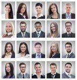 Κολάζ των πορτρέτων των επιτυχών νέων επιχειρηματιών στοκ εικόνα