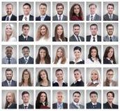 Κολάζ των πορτρέτων των επιτυχών νέων επιχειρηματιών στοκ εικόνες
