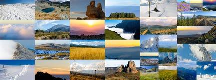 Κολάζ των φωτογραφιών φύσης, διάφορες εποχές Στοκ φωτογραφίες με δικαίωμα ελεύθερης χρήσης