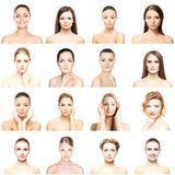 Κολάζ των όμορφων, υγιών και νέων πορτρέτων SPA Πρόσωπα των διαφορετικών γυναικών Πρόσωπο που ανυψώνει, skincare, πλαστική χειρου Στοκ Φωτογραφίες