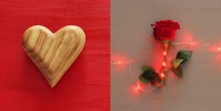 Κολάζ υποβάθρου ημέρας βαλεντίνων το κόκκινο καρδιών αυξήθη&k Τοπ όψη Στοκ Φωτογραφία