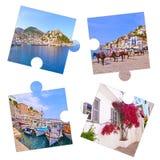 Κολάζ φωτογραφιών με τις φωτογραφίες Ελλάδα νησιών Hydra στοκ εικόνες
