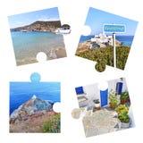 Κολάζ φωτογραφιών με τις φωτογραφίες νησιών της Σίφνου στα κομμάτια γρίφων στοκ εικόνες