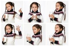 Κολάζ χαριτωμένου λίγο ποτήρι εκμετάλλευσης κοριτσιών παιδιών του γάλακτος στοκ φωτογραφίες με δικαίωμα ελεύθερης χρήσης