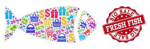 Κολάζ ψαριών του μωσαϊκού και του γραμματοσήμου Grunge για τις πωλήσεις διανυσματική απεικόνιση
