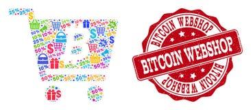 Κολάζ Webshop Bitcoin του μωσαϊκού και του γραμματοσήμου Grunge για τις πωλήσεις διανυσματική απεικόνιση