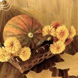 Κολοκύθα σε ένα ψάθινο καλάθι με τα λουλούδια, τη σορβιά και τα ξηρά φύλλα Στοκ φωτογραφίες με δικαίωμα ελεύθερης χρήσης