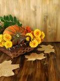 Κολοκύθα σε ένα ψάθινο καλάθι με τα λουλούδια, τη σορβιά και τα ξηρά φύλλα Στοκ Εικόνες