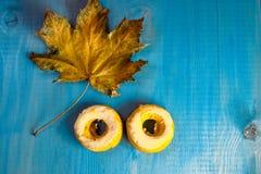 Κολοκύθα donuts και φύλλα σφενδάμου σε ένα μπλε υπόβαθρο στοκ εικόνα