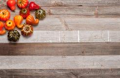 Κολοκύθες στο ξύλινο υπόβαθρο Αποκριές, ημέρα των ευχαριστιών ή εποχιακός φθινοπωρινός Στοκ Εικόνα