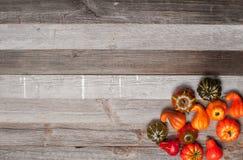 Κολοκύθες στο ξύλινο υπόβαθρο Αποκριές, ημέρα των ευχαριστιών ή εποχιακός φθινοπωρινός Στοκ εικόνα με δικαίωμα ελεύθερης χρήσης
