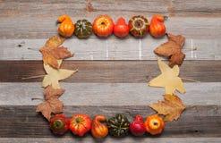 Κολοκύθες στο ξύλινο υπόβαθρο Αποκριές, ημέρα των ευχαριστιών ή εποχιακός φθινοπωρινός Στοκ εικόνες με δικαίωμα ελεύθερης χρήσης