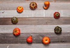 Κολοκύθες στο ξύλινο υπόβαθρο Αποκριές, ημέρα των ευχαριστιών ή εποχιακός φθινοπωρινός Στοκ φωτογραφία με δικαίωμα ελεύθερης χρήσης