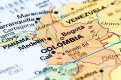 Κολομβία σε έναν χάρτη στοκ εικόνα