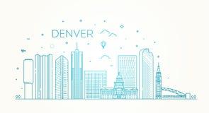Κολοράντο, Ντένβερ διάνυσμα οριζόντων σχεδίου πόλεων ανασκόπησής σας Αρχιτεκτονική, κτήρια, τοπίο, πανόραμα, ορόσημα, εικονίδια Στοκ Φωτογραφία