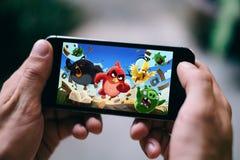 ΚΟΛΩΝΙΑ, ΓΕΡΜΑΝΙΑ - 27 ΦΕΒΡΟΥΑΡΊΟΥ 2018: App πουλιών παιχνίδι που παίζεται στο iPhone της Apple Στοκ Εικόνες