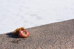 Κολόβωμα της Apple στην οδό, απορρίματα στην πόλη Στοκ φωτογραφία με δικαίωμα ελεύθερης χρήσης