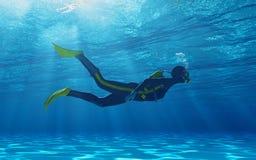 Κολύμβηση δυτών υποβρύχια διανυσματική απεικόνιση