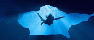 Κολύμβηση δυτών υποβρύχια απεικόνιση αποθεμάτων