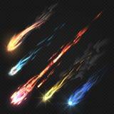 Κομήτες ουρανού και μετεωρίτης, ίχνη πυραύλων που απομονώνονται στο σκοτεινό διαφανές υπόβαθρο ελεύθερη απεικόνιση δικαιώματος