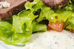 Κομμάτια βόειου κρέατος με τα λαχανικά και τη σάλτσα μαγιονέζας Στοκ Φωτογραφίες