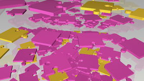 Κομμάτια γρίφων πτώσης, περιστροφής αφηρημένα στην πορφύρα και κίτρινος απεικόνιση αποθεμάτων