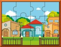Κομμάτια γρίφων τορνευτικών πριονιών για τα σπίτια στο χωριό απεικόνιση αποθεμάτων