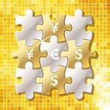 Κομμάτια γρίφων τορνευτικών πριονιών με το σύμβολο νομίσματος Στοκ εικόνα με δικαίωμα ελεύθερης χρήσης