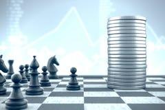 Κομμάτια ενέχυρων και σκακιού εναντίον των χρημάτων σε ένα μπλε υπόβαθρο αποθεμάτων στοκ εικόνα με δικαίωμα ελεύθερης χρήσης