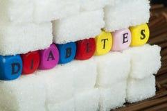 Κομμάτια ζάχαρης και διαβήτης λέξης Στοκ φωτογραφίες με δικαίωμα ελεύθερης χρήσης