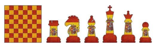 Κομμάτια σκακιού με τη σημαία της Ισπανίας απεικόνιση αποθεμάτων