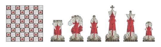 Κομμάτια σκακιού με τη σημαία του Καναδά απεικόνιση αποθεμάτων