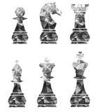Κομμάτια σκακιού συμπεριλαμβανομένου του βασιλιά βασίλισσα Rook Pawn Knight και επίσκοπος Στοκ Φωτογραφία