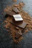 Κομμάτια σοκολάτας και σκόνη κακάου Στοκ Φωτογραφία