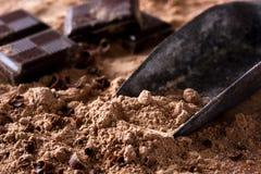 Κομμάτια σοκολάτας στη σκόνη σοκολάτας Στοκ Εικόνες