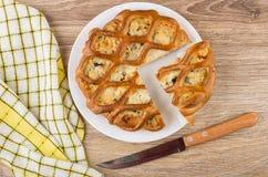 Κομμάτια της πίτας κοτόπουλου που γεμίζεται στο πιάτο, το μαχαίρι και την πετσέτα Στοκ Εικόνα