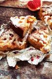 Κομμάτια της πίτας μήλων που ψεκάζεται με την κονιοποιημένη ζάχαρη Τοπ όψη Σπιτικές διακοσμημένες φέτες κέικ μήλων περικοπών του  Στοκ Εικόνες