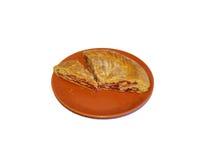 Κομμάτια της πίτας σμέουρων σε ένα πιάτο Στοκ Εικόνες